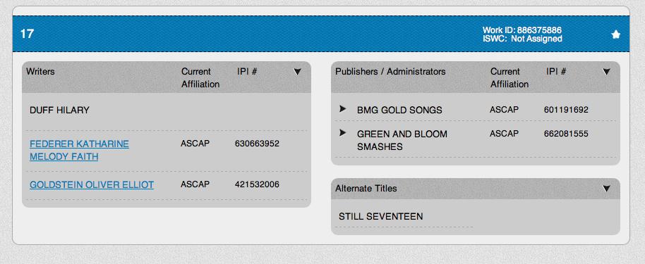 17 (Still Seventeen) ASCAP
