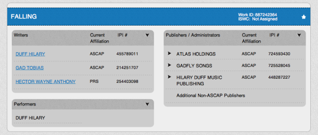 Hilary Duff Falling ASCAP