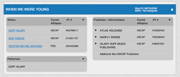 Hilary Duff When We Were Young ASCAP