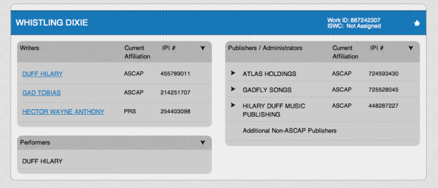 Hilary Duff Whistling Dixie ASCAP